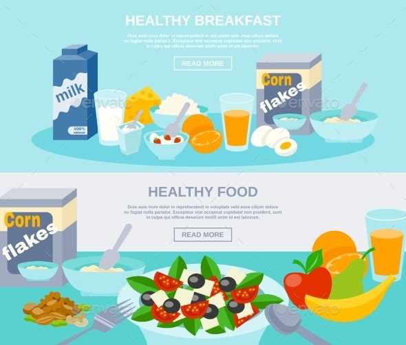 Healthy Food Flat Banner Set  - Food Objects