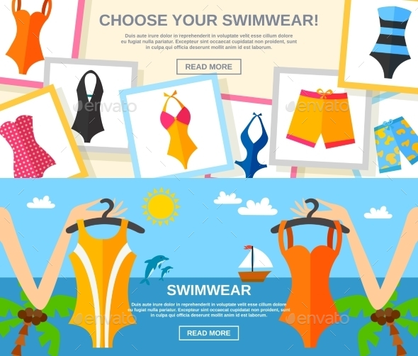 Swimwear Flat Banner Set  - Man-made Objects Objects