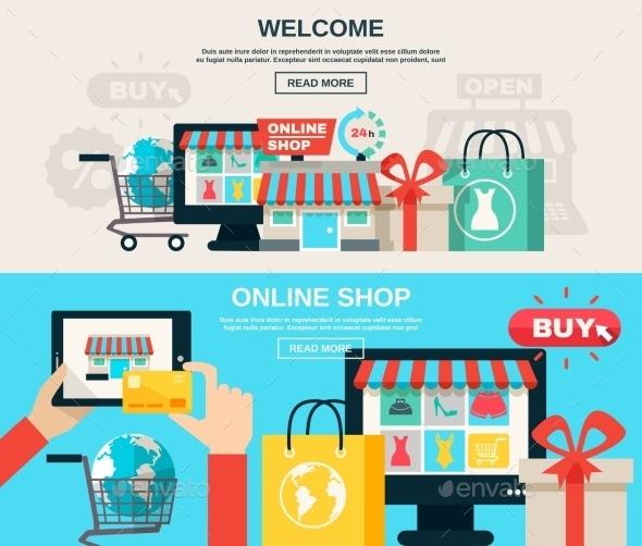 Internet Store Flat Banner Set  - Web Technology