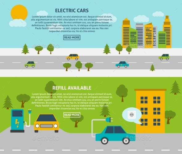 Electric Car Banner Set  - Man-made Objects Objects