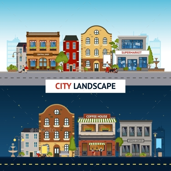City Banner Set - Buildings Objects