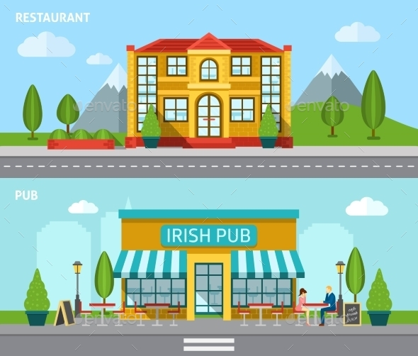 Cafe Flat Banner Set - Buildings Objects