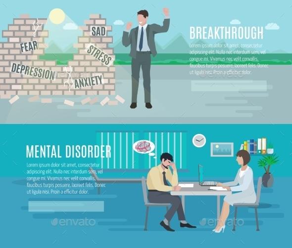 Mental Health Flat Banners Set - Health/Medicine Conceptual