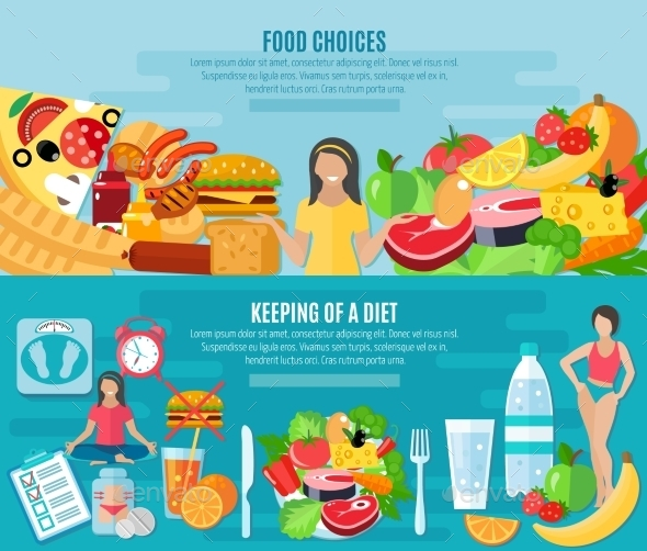 Weight Loose Diet Flat Banners Set