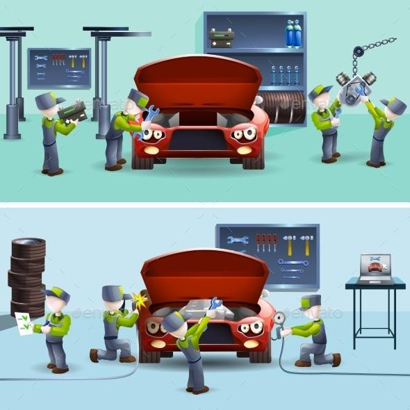 Auto Mechanic Service Flat Banners Set - Concepts Business