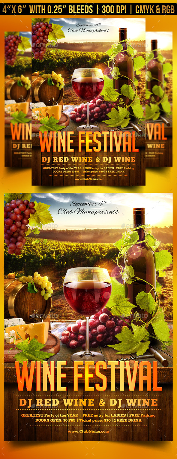 wine festival flyer template by gugulanul graphicriver. Black Bedroom Furniture Sets. Home Design Ideas