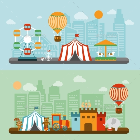 Circus In City Flat Banners Set   - Miscellaneous Conceptual