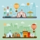 Circus In City Flat Banners Set   - GraphicRiver Item for Sale