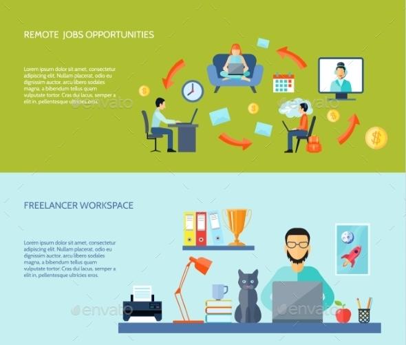 Freelance Flat Banner Set - Communications Technology