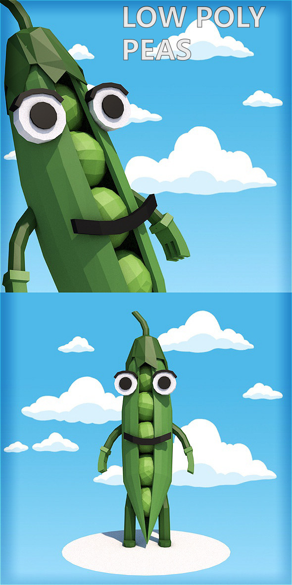 Low poly peas character - 3DOcean Item for Sale