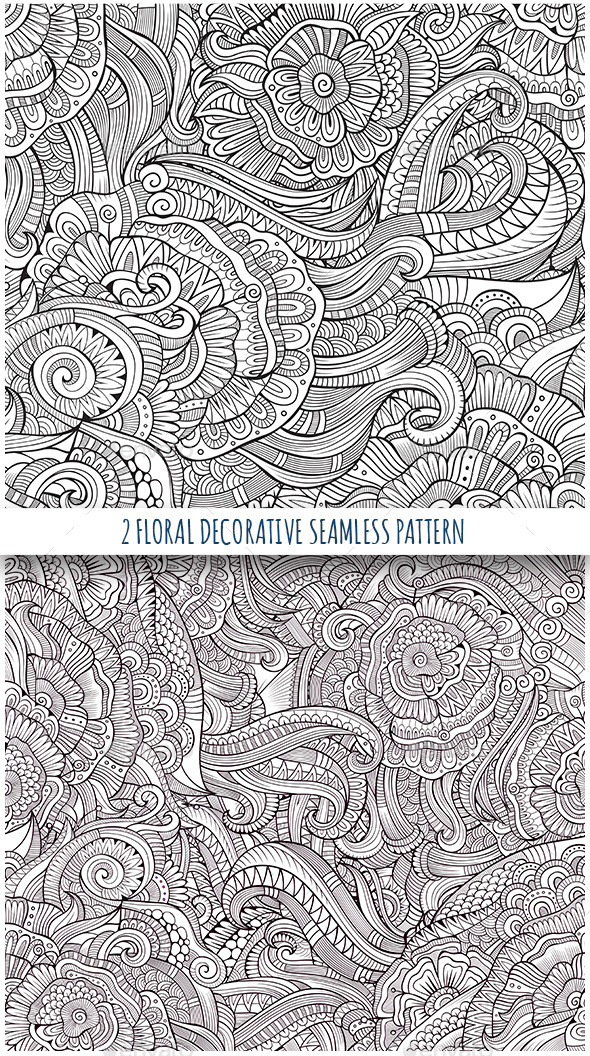 2 Floral Decorative Seamless Patterns - Patterns Decorative