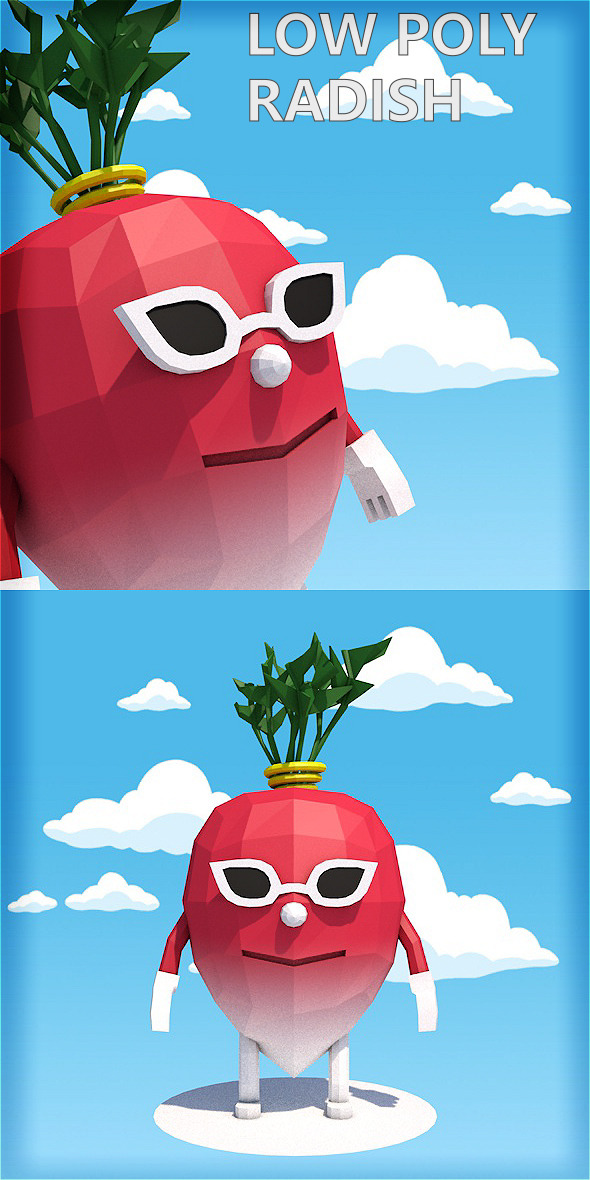Low poly radish character - 3DOcean Item for Sale