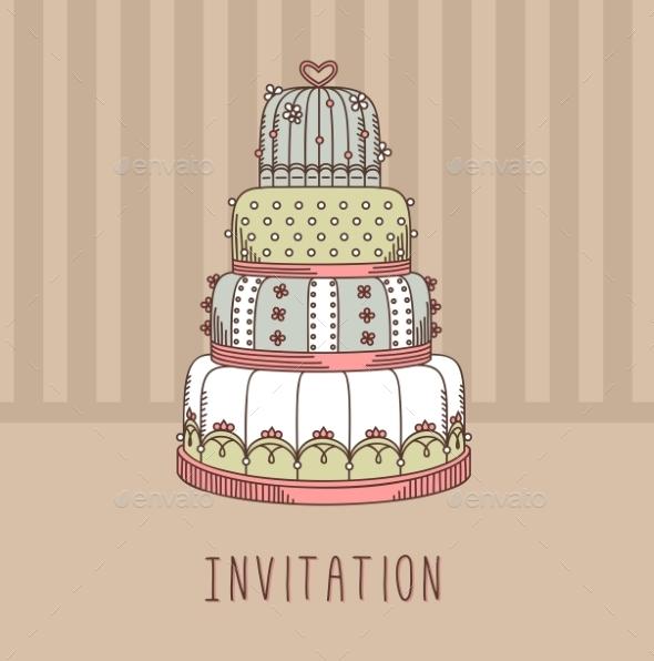 Invitation With Wedding Cake. - Weddings Seasons/Holidays