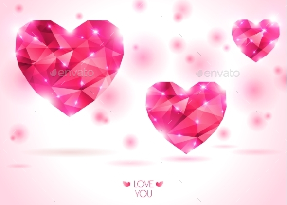 Three Pink Hearts On White Backdrop With Shadow.  - Valentines Seasons/Holidays