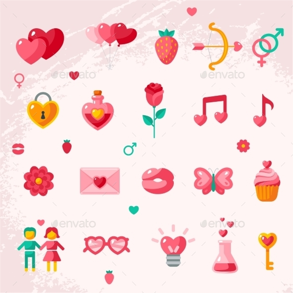 Valentine's Day Icons Elements Collection