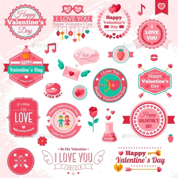 Set Of Vintage Happy Valentine's Day Badges - Valentines Seasons/Holidays