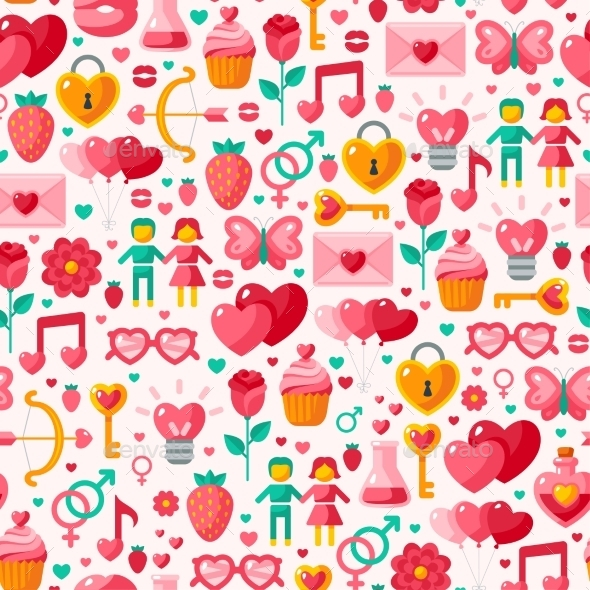 Valentine Seamless Pattern. - Valentines Seasons/Holidays