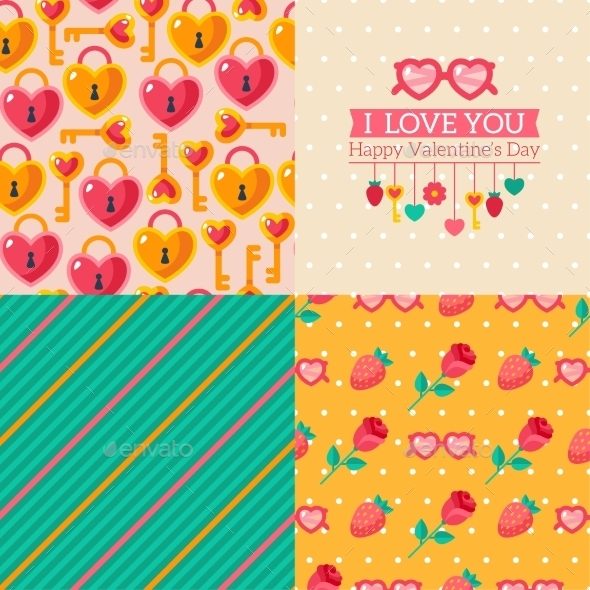 Seamless Patterns Of Valentine Symbols - Valentines Seasons/Holidays