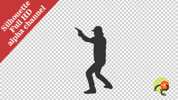 Silhouette of Detective Running & shooting