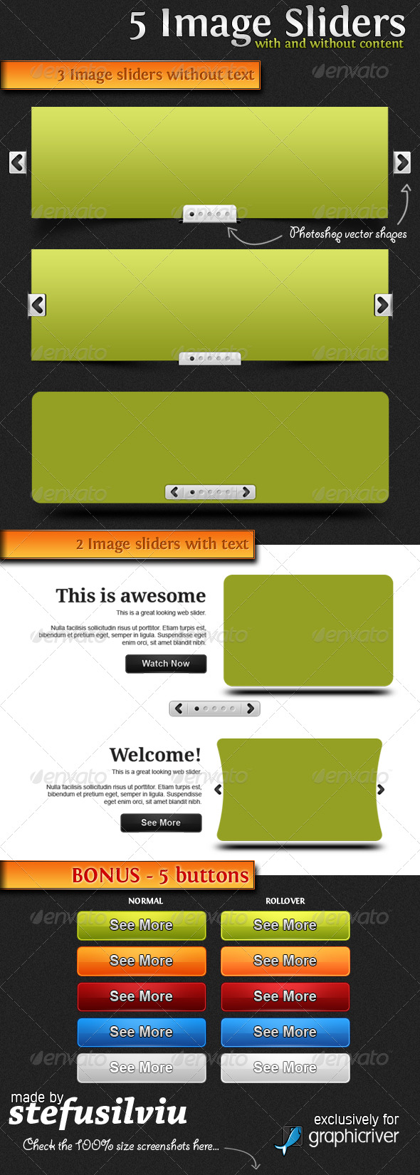 5 Image Sliders - Sliders & Features Web Elements