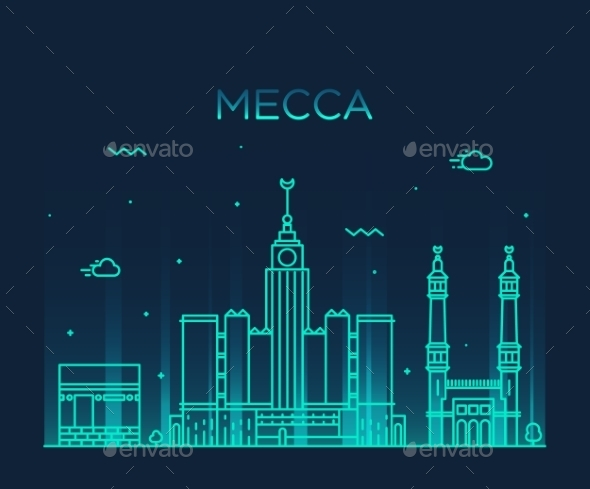 Mecca Skyline Trendy Vector Illustration Linear - Buildings Objects