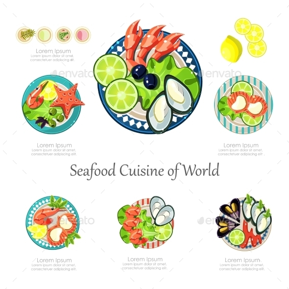 Seafood Design Set. Infographic Food Business - Food Objects