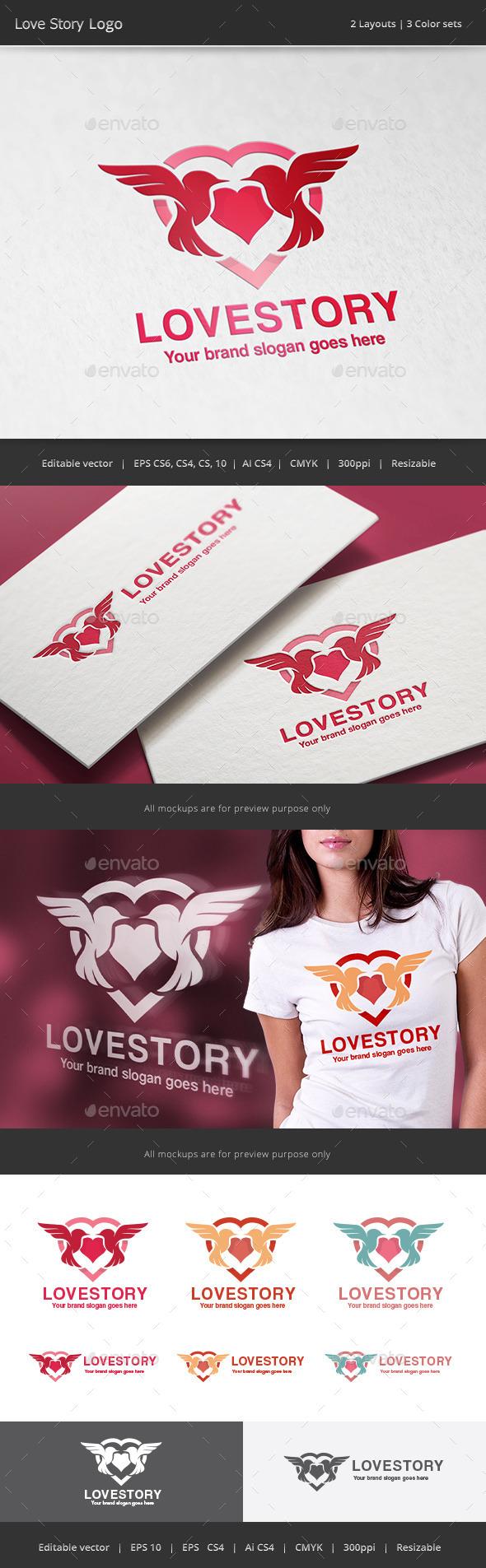 Love Story Bird Hearth Logo - Animals Logo Templates