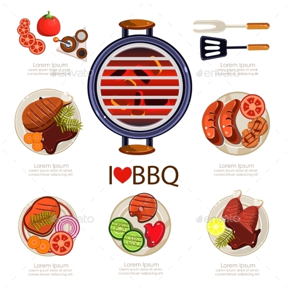 BBQ Infographics - Food Objects