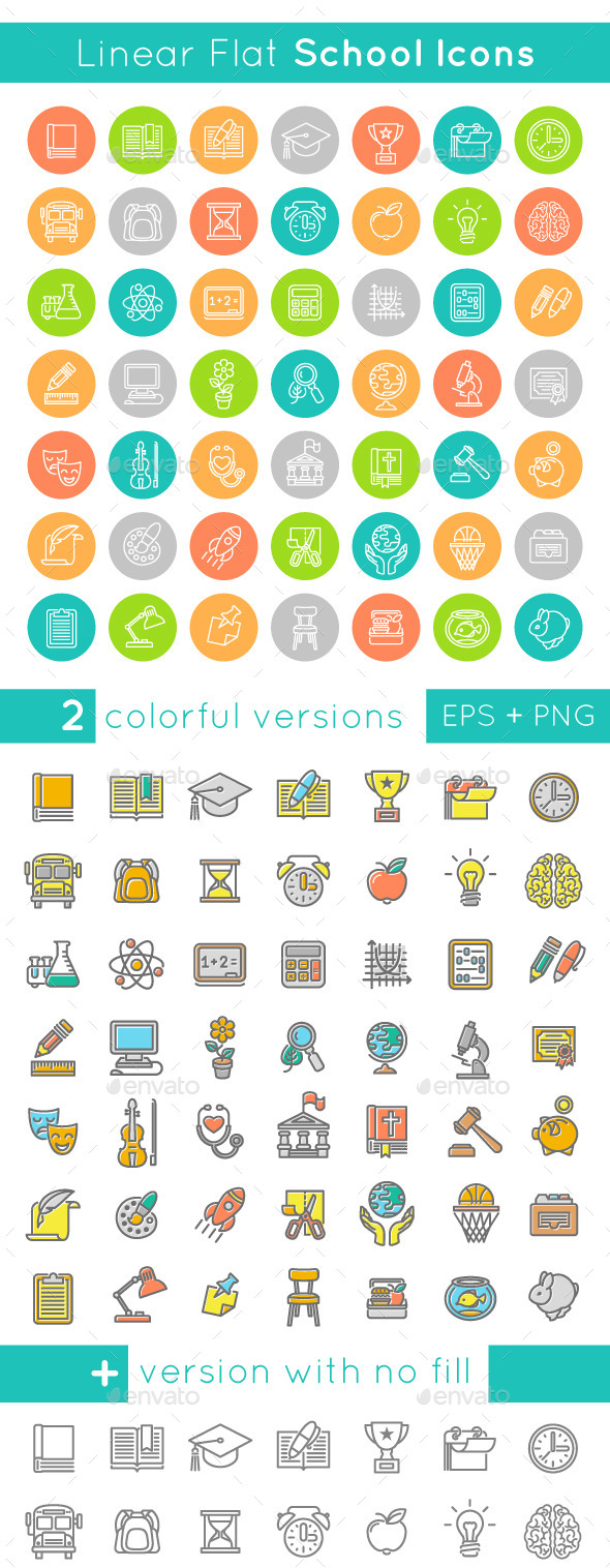 Linear Flat School Subjects Icons - Miscellaneous Icons