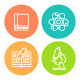 Linear Flat School Subjects Icons - GraphicRiver Item for Sale