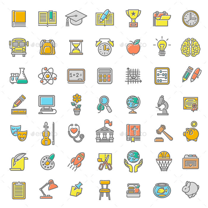 Flat Modern Colored Logo Collection: Linear Flat School Subjects Icons By Vectorikart