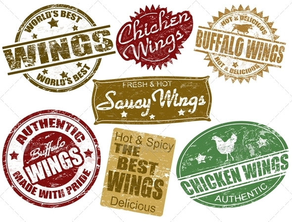 Set of wings stamp - Food Objects