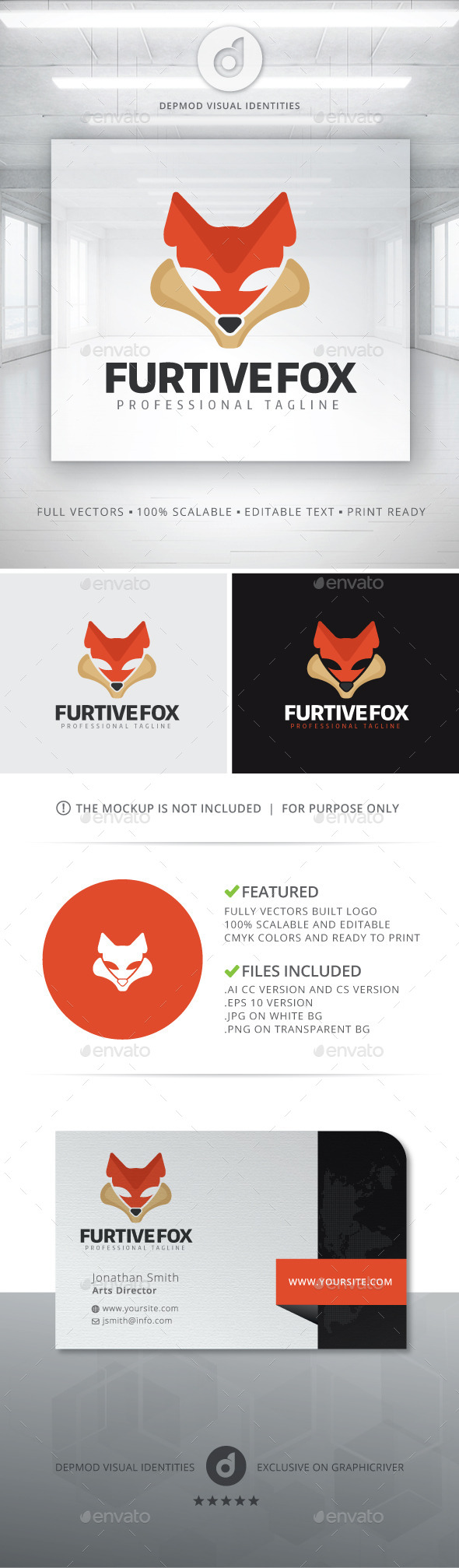 Furtive Fox Logo - Animals Logo Templates