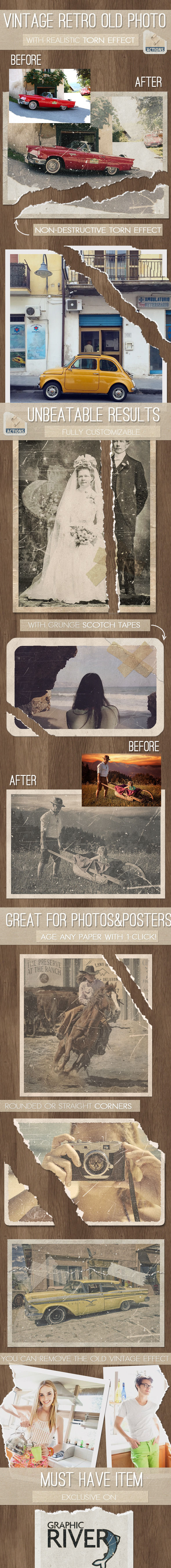 Old Photo with Torn Ripped Effect Photoshop Action - Photo Effects Actions