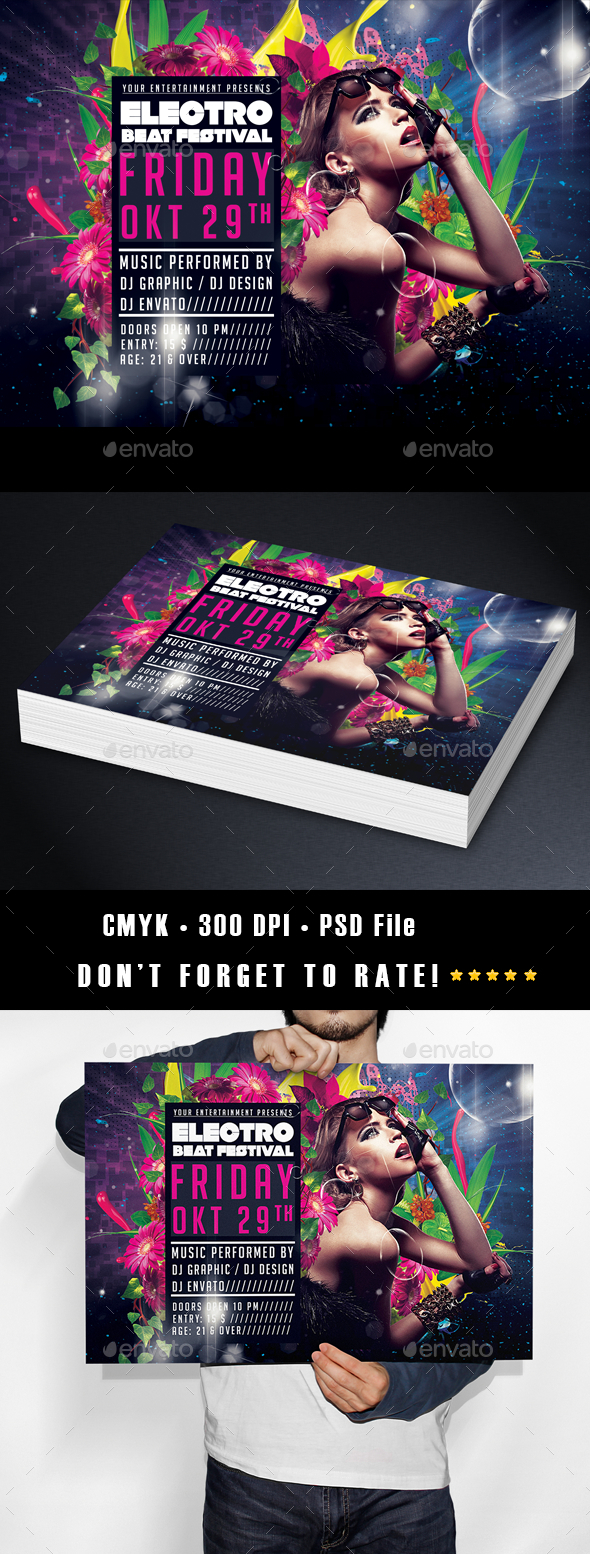 Electro Beat Flyer Template Horizontal - Clubs & Parties Events