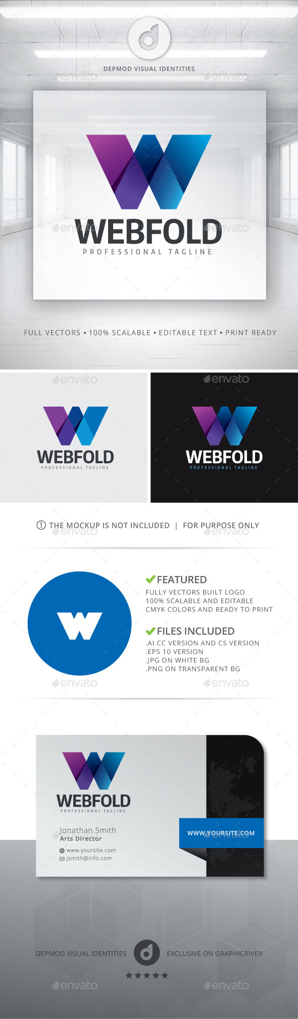 Web Fold Logo - Letters Logo Templates