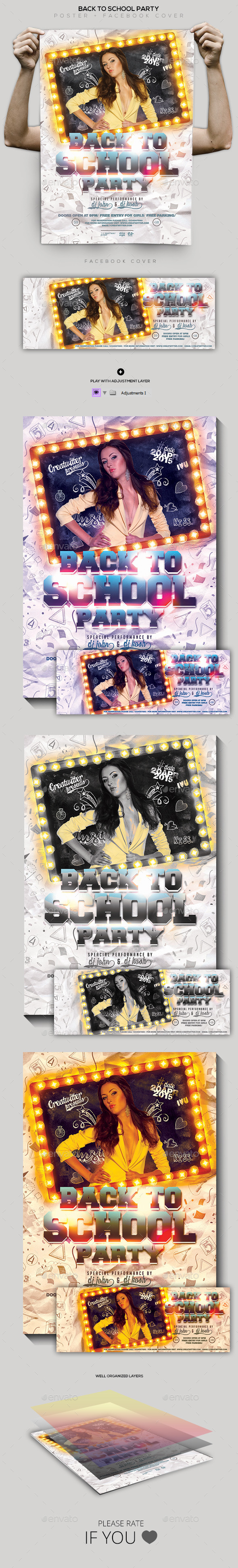 Back to School Party Flyer/ Poster/ Facebook Cover - Clubs & Parties Events