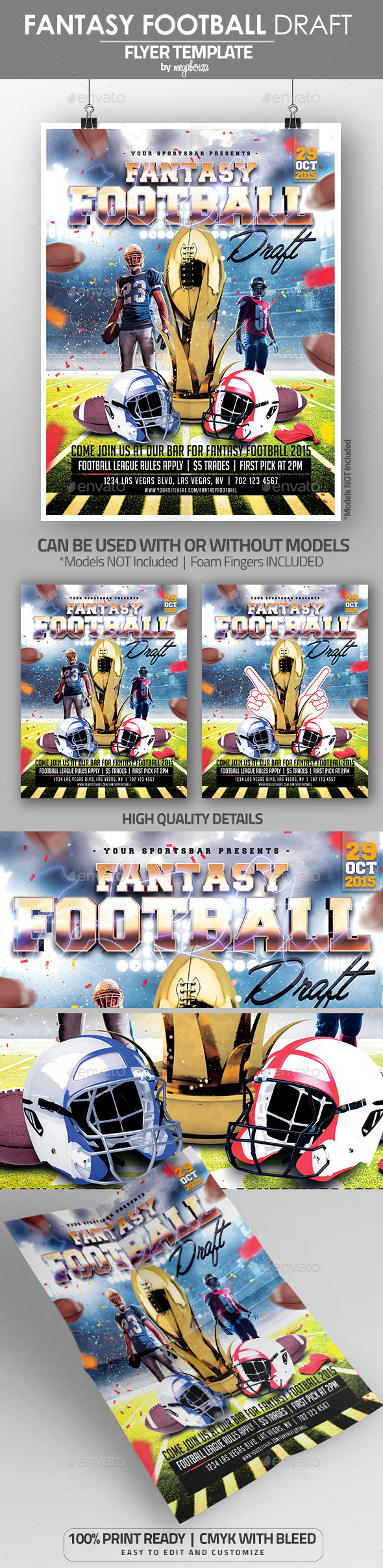 Fantasy Football Draft Flyer / Poster Template - Sports Events