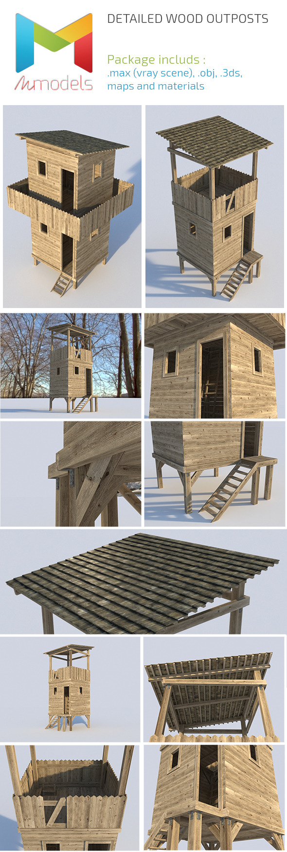 Realistic Wooden Outposts - 3DOcean Item for Sale