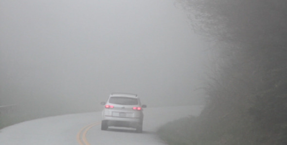 Car Driving on Foggy Mountain Road 1