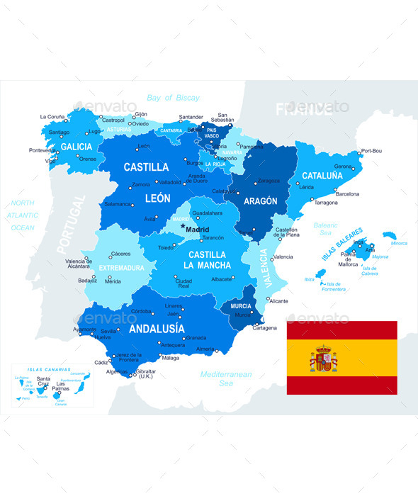 Spain Map and Flag - Travel Conceptual