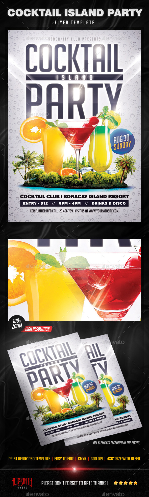 Cocktail Island Party Flyer