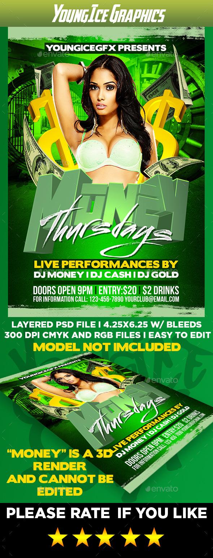 Money Thursdays Flyer Template - Clubs & Parties Events