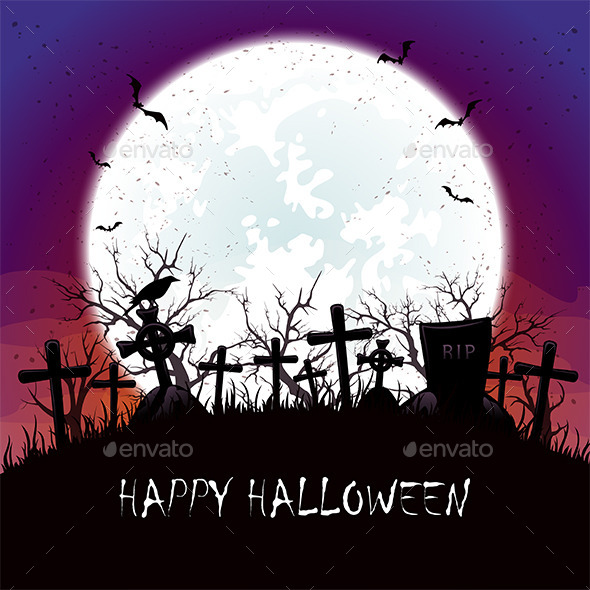 Halloween Night with Moon at the Cemetery - Halloween Seasons/Holidays