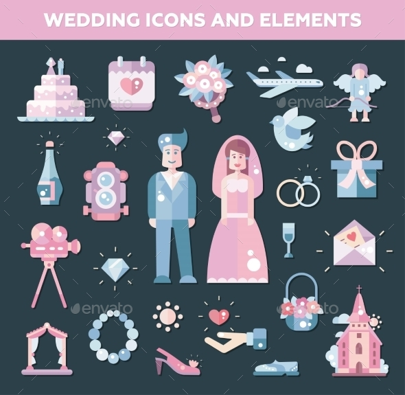Set of Flat Design Wedding and Marriage Icons