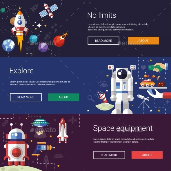Set of Flat Design Flyers and Headers with Space - Backgrounds Decorative