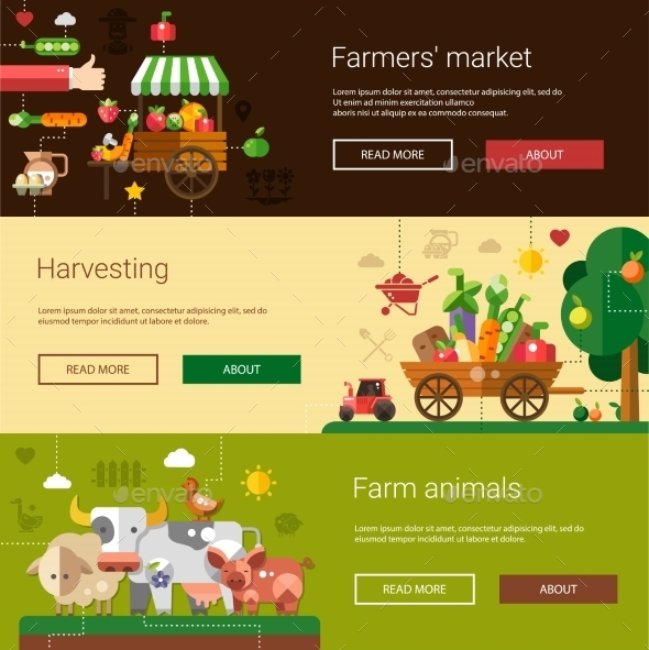 Set of Flat Design Farm and Agriculture Banners - Food Objects