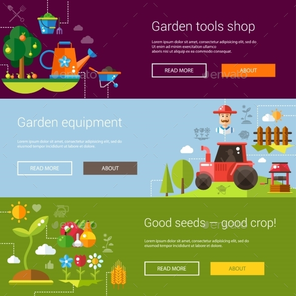 Set of Modern Flat Design Farm and Agriculture - Food Objects