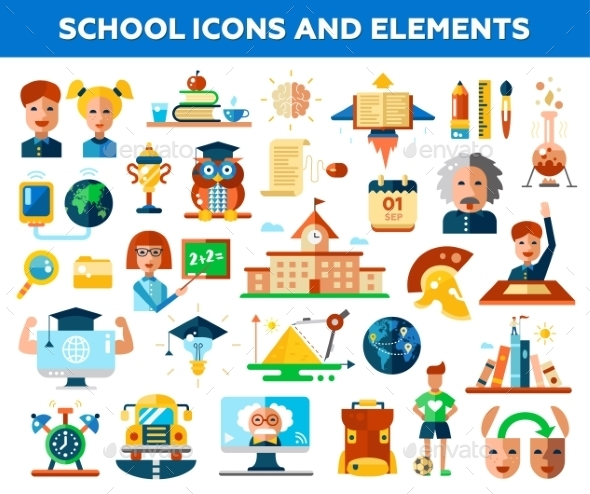 Set of School Icons - Miscellaneous Vectors