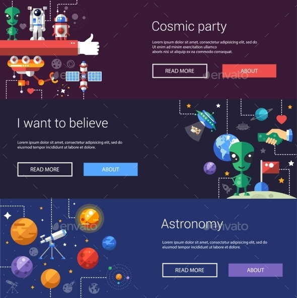 Set of Flat Design Flyers and Headers with Space - Miscellaneous Vectors